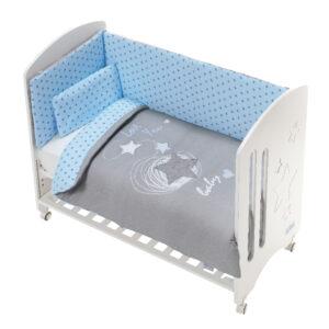 Bρεφικό κρεβάτι Don Algodon Προίκα Love You Gris/Azul