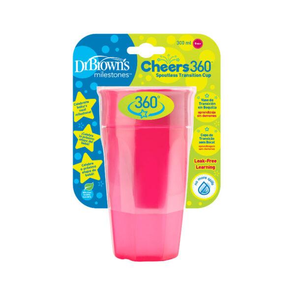 Εκπαιδευτικό κύπελλο Dr.Browns Cheers 360°με καπάκι 300ml Pink
