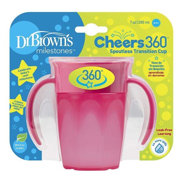 Εκπαιδευτικό κύπελλο Dr.Browns Cheers 360° Με Λαβές Ρόζ 200ml