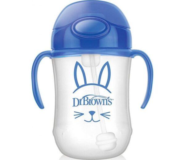 Κύπελλο Dr Browns με εύπλαστο καλαμάκι & λαβές 270ml Blue