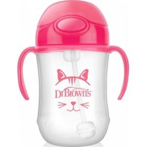 Κύπελλο Dr Browns με εύπλαστο καλαμάκι & λαβές 270ml Pink